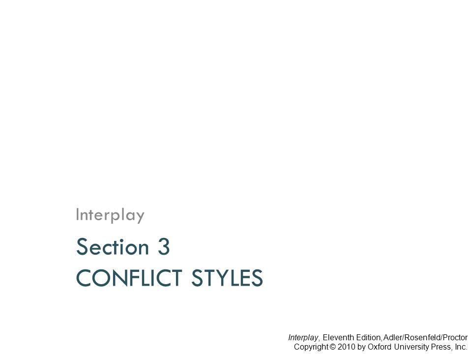 Section 3 CONFLICT STYLES Interplay Interplay, Eleventh Edition, Adler/Rosenfeld/Proctor Copyright © 2010 by Oxford University Press, Inc.