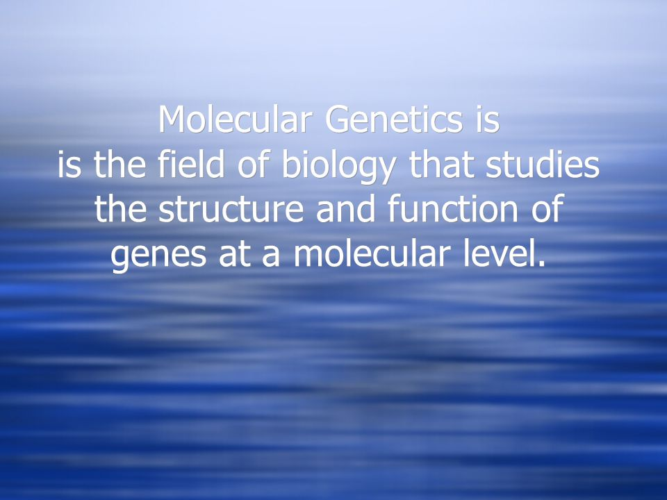 Molecular Genetics is is the field of biology that studies the structure and function of genes at a molecular level.