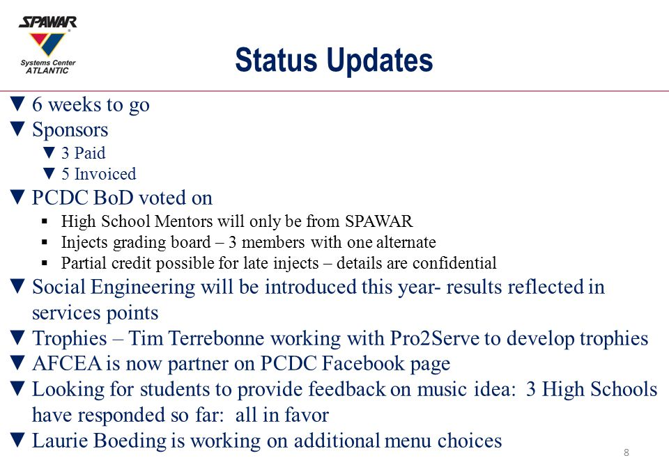 Status Updates ▼6 weeks to go ▼Sponsors ▼3 Paid ▼5 Invoiced ▼PCDC BoD voted on  High School Mentors will only be from SPAWAR  Injects grading board