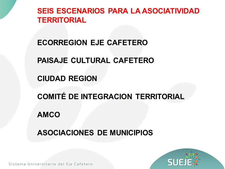 SEIS ESCENARIOS PARA LA ASOCIATIVIDAD TERRITORIAL ECORREGION EJE CAFETERO PAISAJE CULTURAL CAFETERO CIUDAD REGION COMITÉ DE INTEGRACION TERRITORIAL AMCO ASOCIACIONES DE MUNICIPIOS