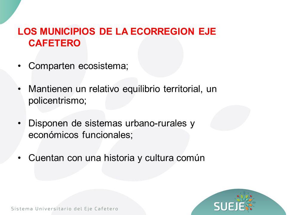 LOS MUNICIPIOS DE LA ECORREGION EJE CAFETERO Comparten ecosistema; Mantienen un relativo equilibrio territorial, un policentrismo; Disponen de sistemas urbano-rurales y económicos funcionales; Cuentan con una historia y cultura común