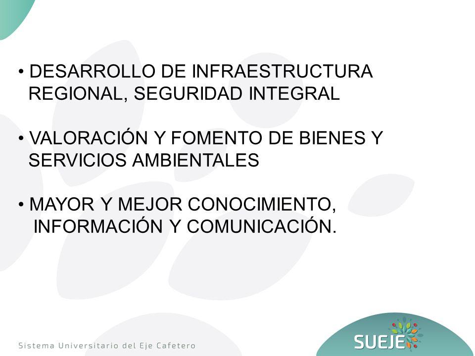 DESARROLLO DE INFRAESTRUCTURA REGIONAL, SEGURIDAD INTEGRAL VALORACIÓN Y FOMENTO DE BIENES Y SERVICIOS AMBIENTALES MAYOR Y MEJOR CONOCIMIENTO, INFORMACIÓN Y COMUNICACIÓN.