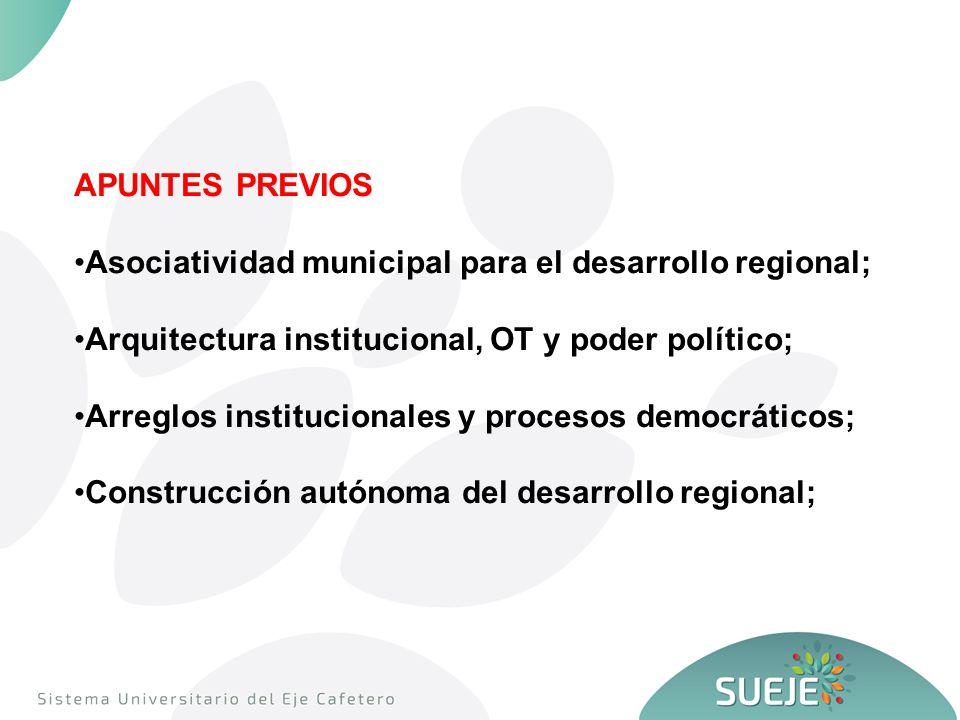 APUNTES PREVIOS Asociatividad municipal para el desarrollo regional; Arquitectura institucional, OT y poder político; Arreglos institucionales y procesos democráticos; Construcción autónoma del desarrollo regional;