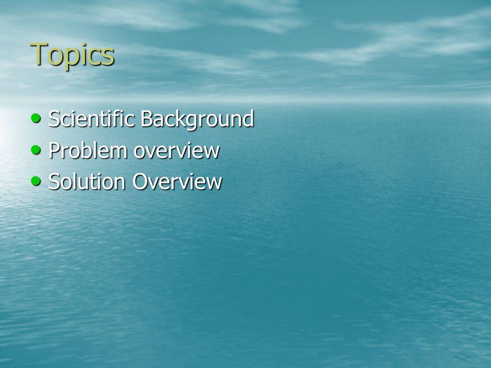Topics Scientific Background Scientific Background Problem overview Problem overview Solution Overview Solution Overview