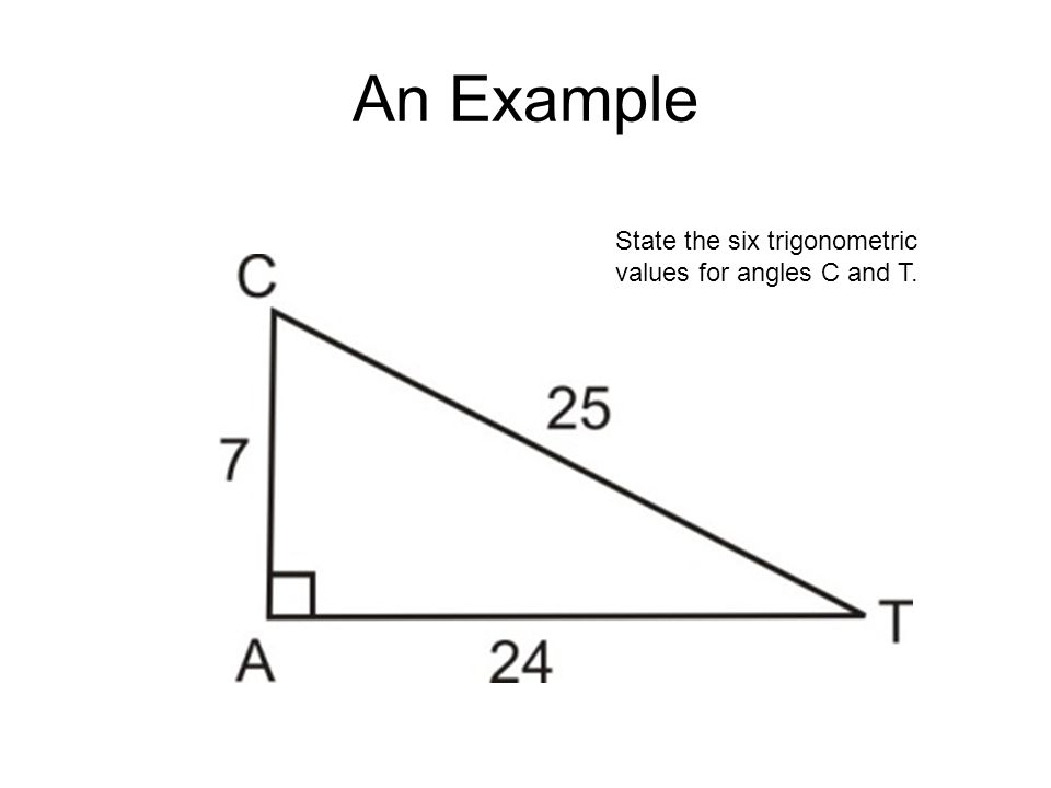 An Example State the six trigonometric values for angles C and T.