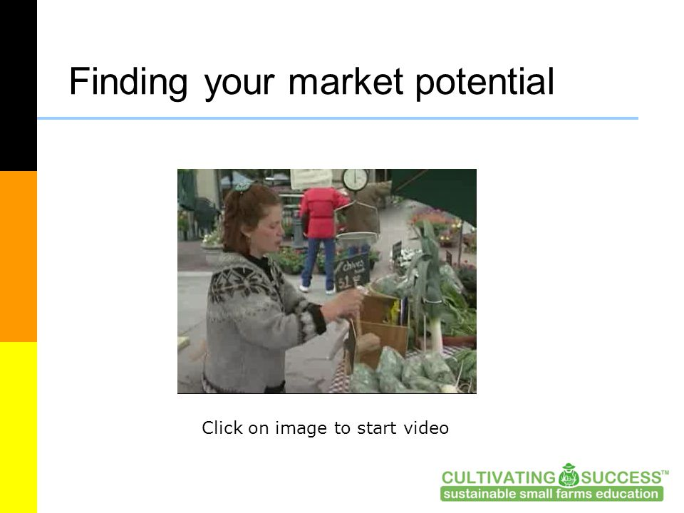 Finding your market potential Click on image to start video
