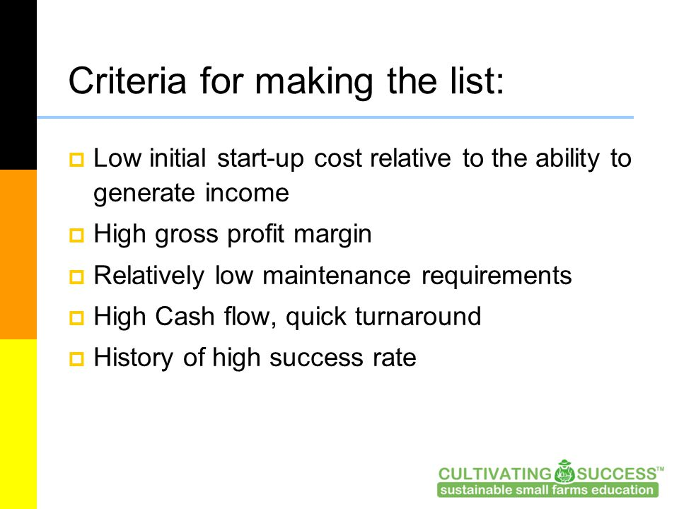 Criteria for making the list:  Low initial start-up cost relative to the ability to generate income  High gross profit margin  Relatively low maintenance requirements  High Cash flow, quick turnaround  History of high success rate