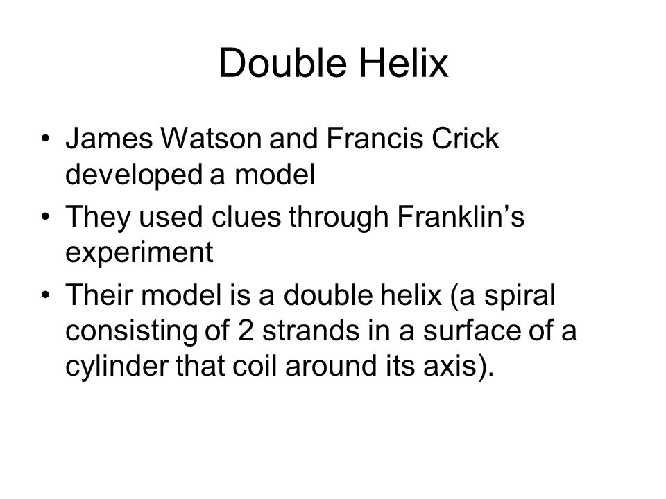Double Helix James Watson and Francis Crick developed a model They used clues through Franklin's experiment Their model is a double helix (a spiral consisting of 2 strands in a surface of a cylinder that coil around its axis).