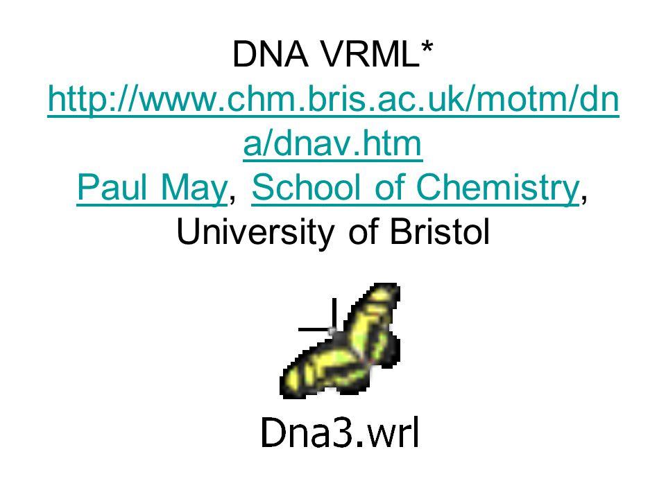 DNA VRML* http://www.chm.bris.ac.uk/motm/dn a/dnav.htm Paul May, School of Chemistry, University of Bristol http://www.chm.bris.ac.uk/motm/dn a/dnav.htm Paul MaySchool of Chemistry
