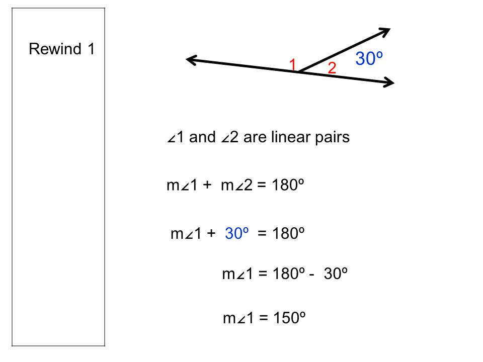 Rewind 1 ∠1 and ∠2 are linear pairs m∠1 + m∠2 = 180º 1 30 º m∠1 + 30º = 180º m∠1 = 180º - 30º m∠1 = 150º 2