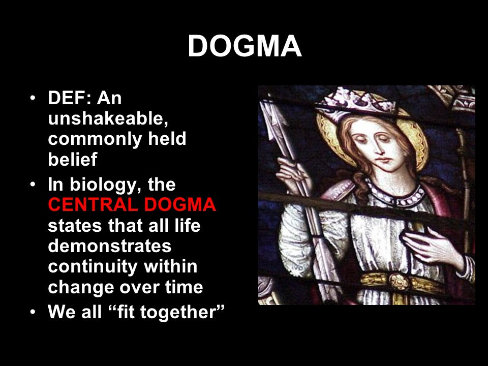DOGMA DEF: An unshakeable, commonly held belief In biology, the CENTRAL DOGMA states that all life demonstrates continuity within change over time We all fit together