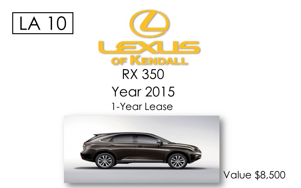 RX 350 Year 2015 Value $8,500 1-Year Lease LA 10
