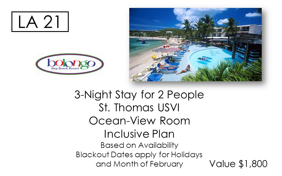 Value $1,800 LA 21 3-Night Stay for 2 People St. Thomas USVI Ocean-View Room Inclusive Plan Based on Availability Blackout Dates apply for Holidays an