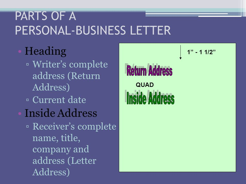 PARTS OF A PERSONAL-BUSINESS LETTER Heading ▫Writer's complete address (Return Address) ▫Current date Inside Address ▫Receiver's complete name, title,