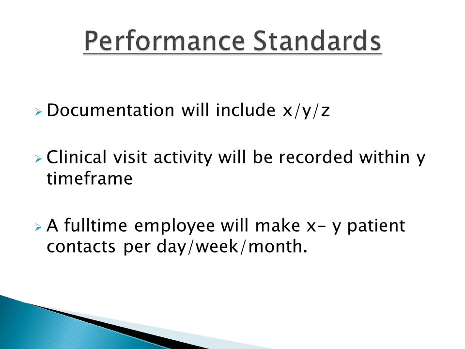  Documentation will include x/y/z  Clinical visit activity will be recorded within y timeframe  A fulltime employee will make x- y patient contacts per day/week/month.