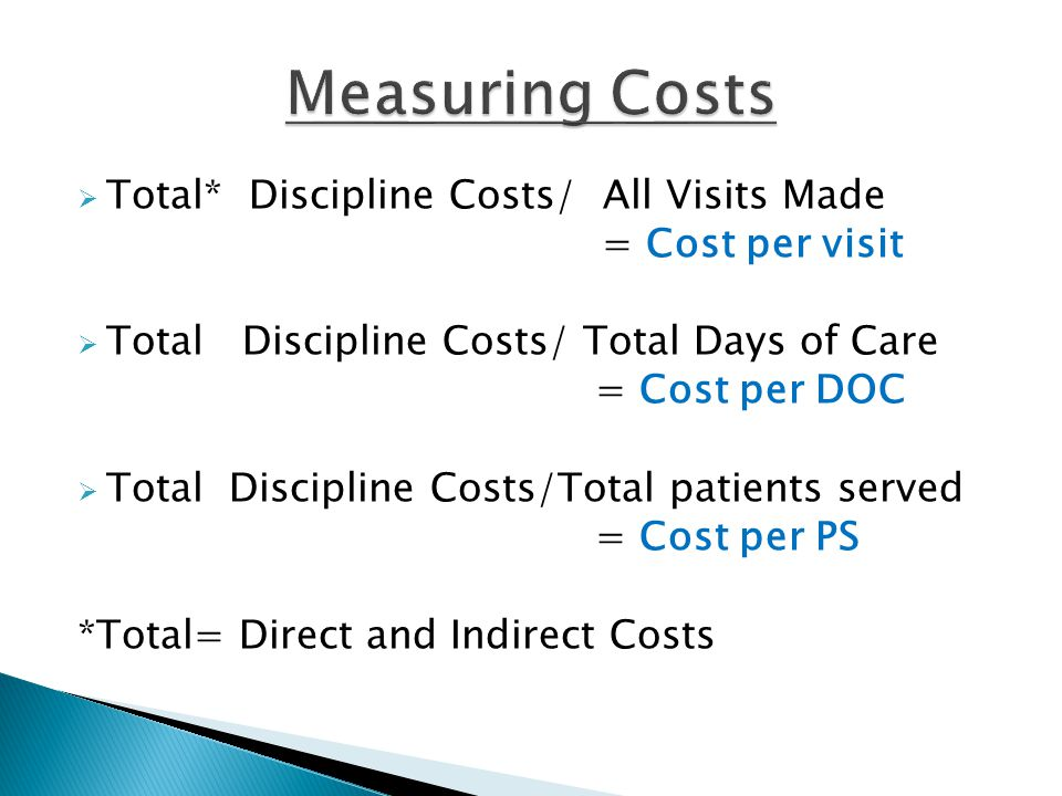  Total* Discipline Costs/ All Visits Made = Cost per visit  Total Discipline Costs/ Total Days of Care = Cost per DOC  Total Discipline Costs/Total patients served = Cost per PS *Total= Direct and Indirect Costs