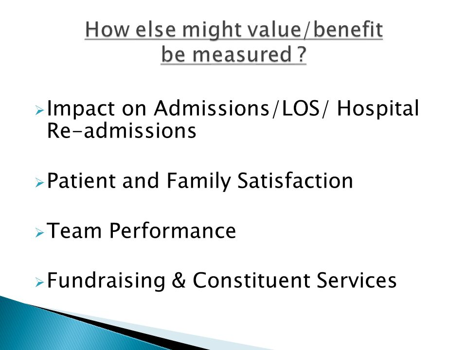  Impact on Admissions/LOS/ Hospital Re-admissions  Patient and Family Satisfaction  Team Performance  Fundraising & Constituent Services