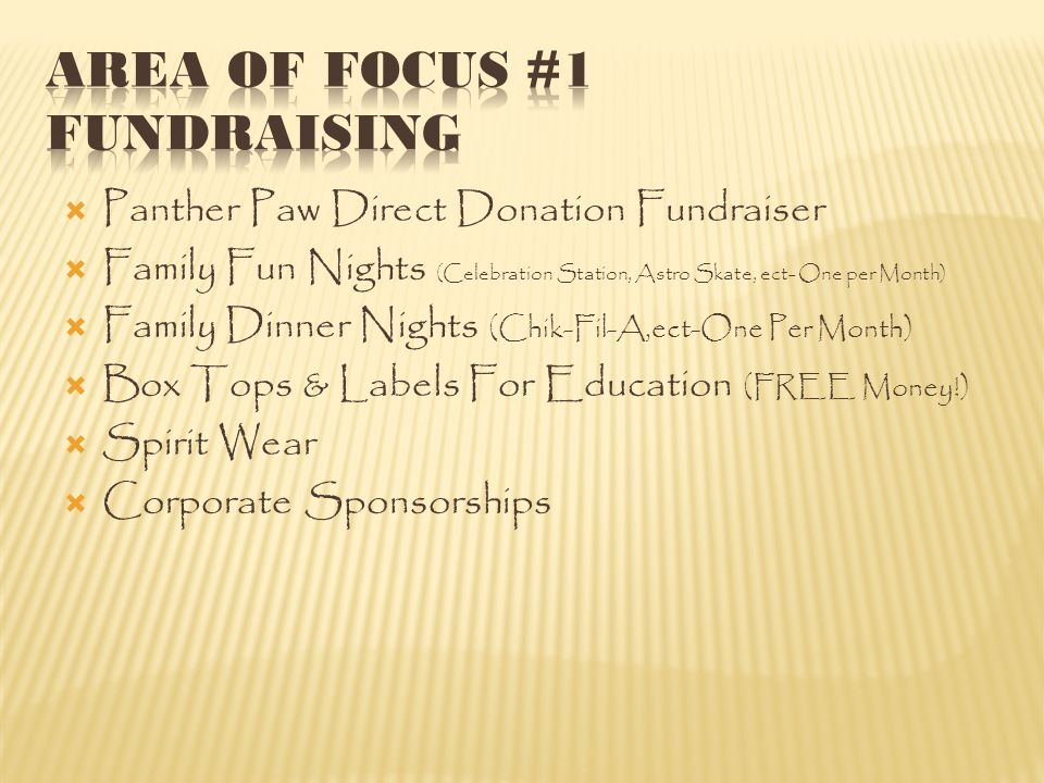  Panther Paw Direct Donation Fundraiser  Family Fun Nights (Celebration Station, Astro Skate, ect- One per Month)  Family Dinner Nights (Chik-Fil-A,ect-One Per Month)  Box Tops & Labels For Education (FREE Money!)  Spirit Wear  Corporate Sponsorships