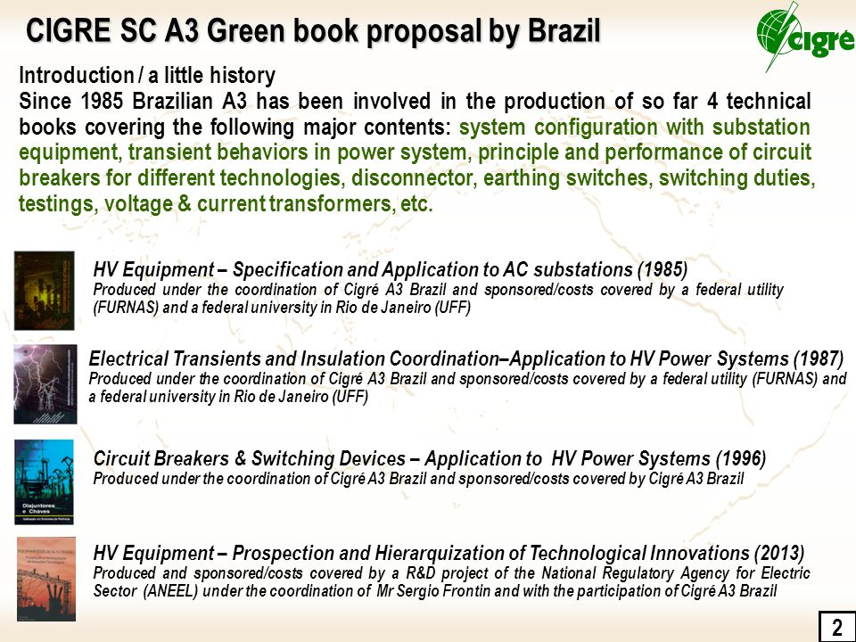 2 Introduction / a little history Since 1985 Brazilian A3 has been involved in the production of so far 4 technical books covering the following major contents: system configuration with substation equipment, transient behaviors in power system, principle and performance of circuit breakers for different technologies, disconnector, earthing switches, switching duties, testings, voltage & current transformers, etc.