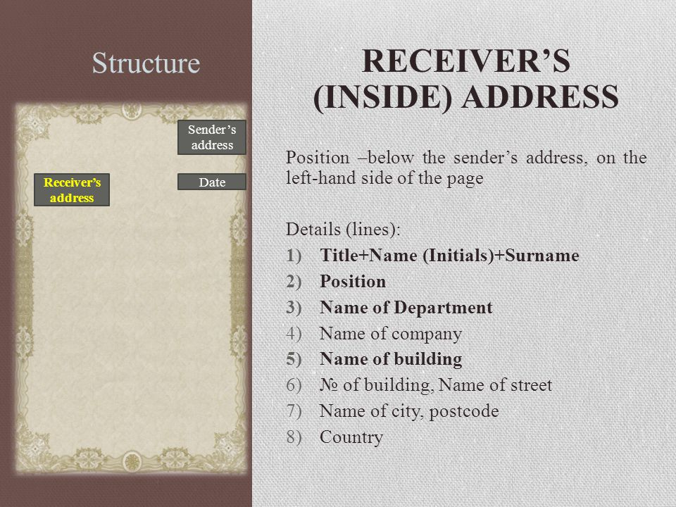 Structure RECEIVER'S (INSIDE) ADDRESS Position –below the sender's address, on the left-hand side of the page Details (lines): 1)Title+Name (Initials)+Surname 2)Position 3)Name of Department 4)Name of company 5)Name of building 6)№ of building, Name of street 7)Name of city, postcode 8)Country Sender's address Date Receiver's address