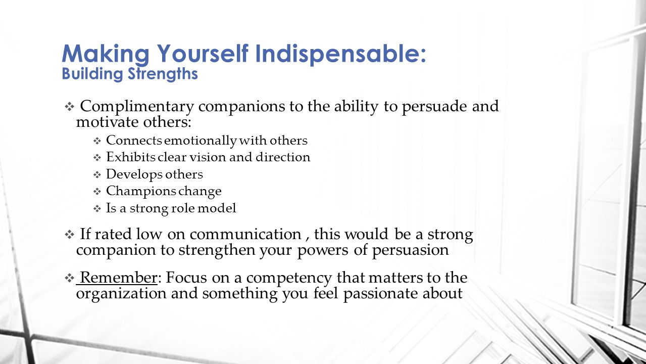  Complimentary companions to the ability to persuade and motivate others:  Connects emotionally with others  Exhibits clear vision and direction 