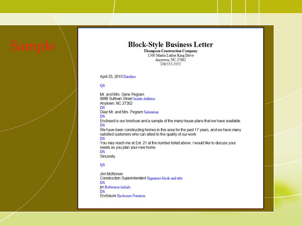 Simplified Format : Similar to full block letter in that all text is typed margin left.