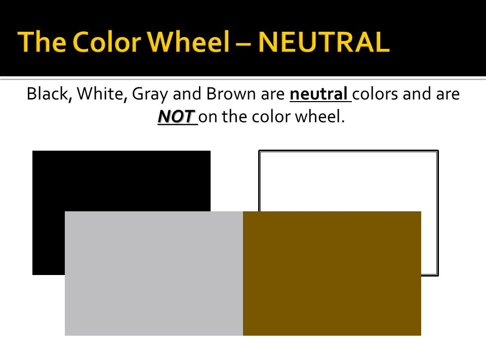 NOT Black, White, Gray and Brown are neutral colors and are NOT on the color wheel.