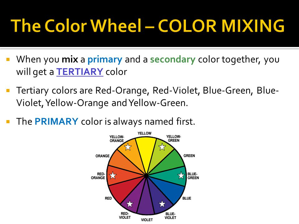  When you mix a primary and a secondary color together, you will get a TERTIARY color  Tertiary colors are Red-Orange, Red-Violet, Blue-Green, Blue- Violet, Yellow-Orange and Yellow-Green.