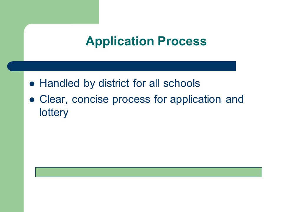 Application Process Handled by district for all schools Clear, concise process for application and lottery