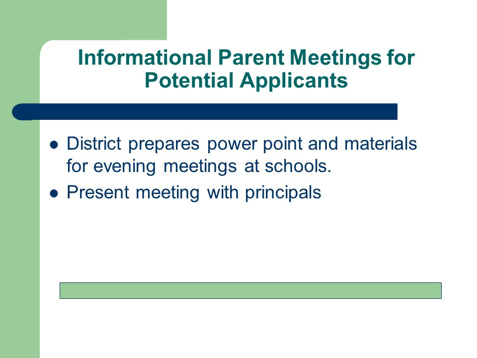 Informational Parent Meetings for Potential Applicants District prepares power point and materials for evening meetings at schools.