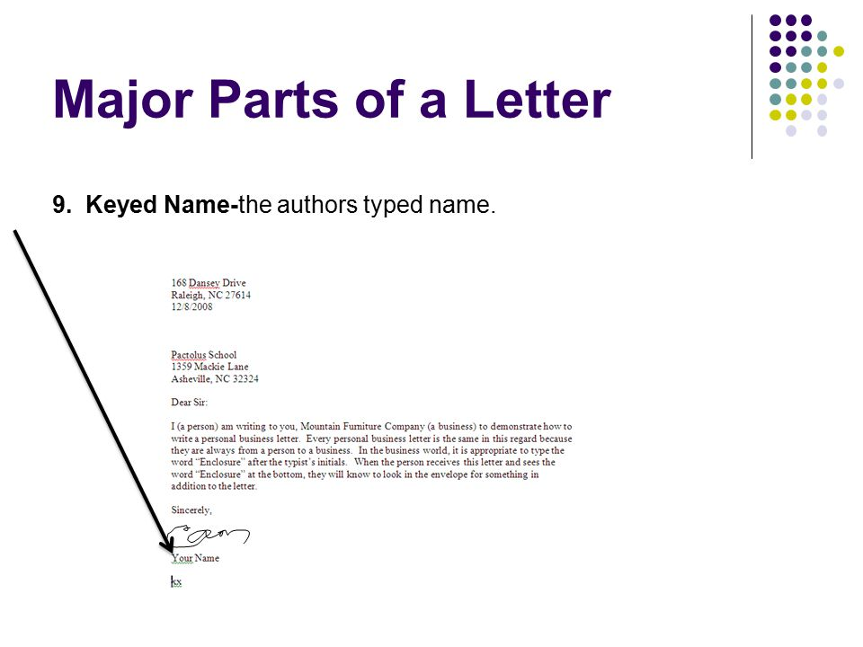 Major Parts of a Letter 9. Keyed Name-the authors typed name.