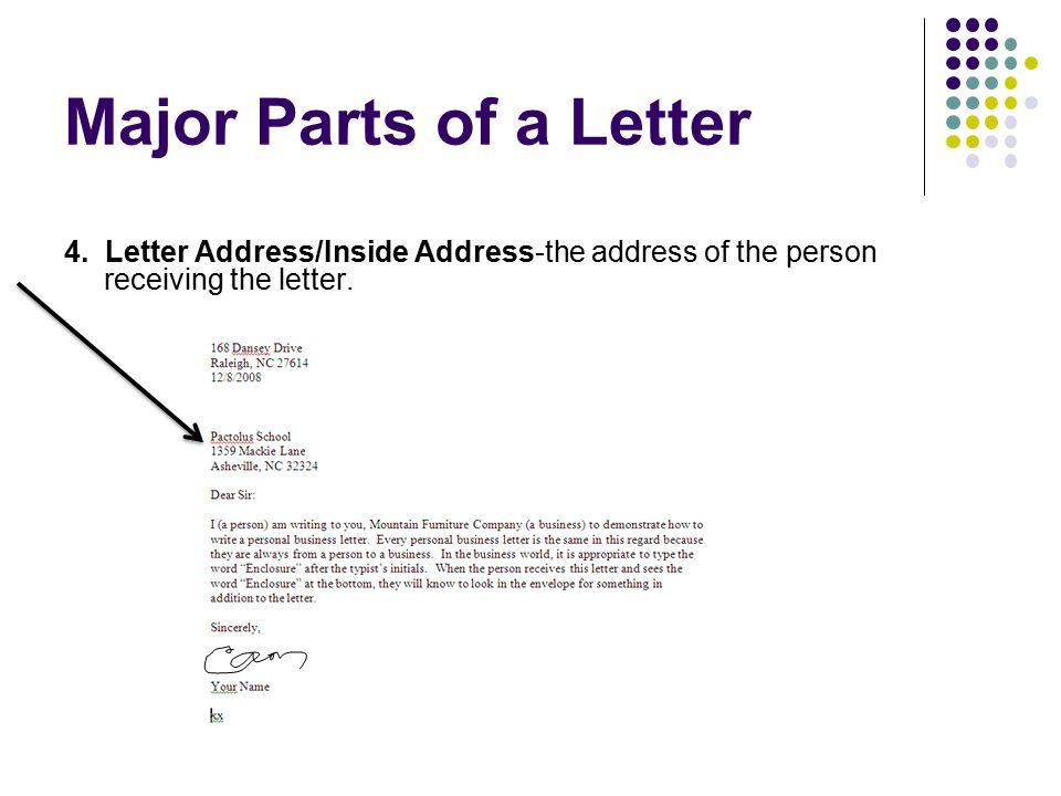 Major Parts of a Letter 4. Letter Address/Inside Address-the address of the person receiving the letter.
