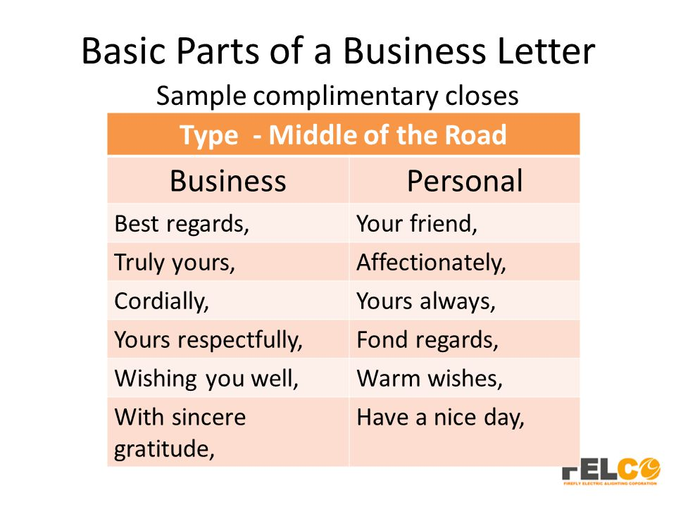 Basic Parts of a Business Letter Sample complimentary closes Type - Middle of the Road BusinessPersonal Best regards,Your friend, Truly yours,Affectionately, Cordially,Yours always, Yours respectfully,Fond regards, Wishing you well,Warm wishes, With sincere gratitude, Have a nice day,