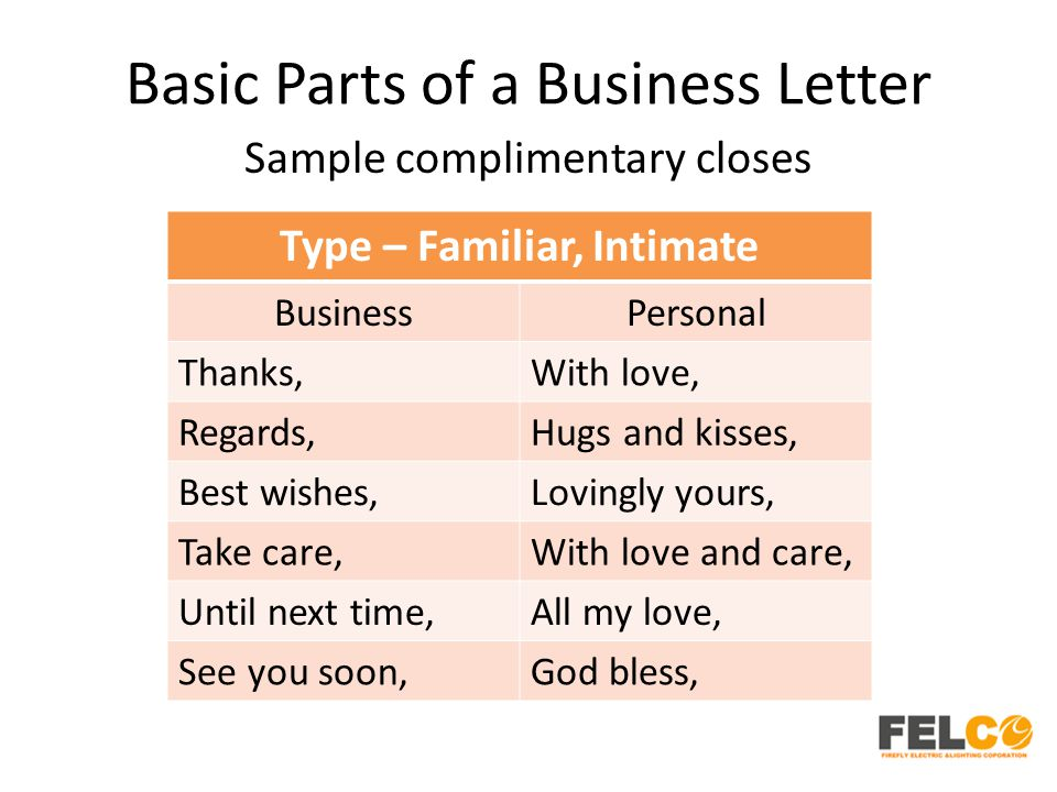 Basic Parts of a Business Letter Sample complimentary closes Type – Familiar, Intimate BusinessPersonal Thanks,With love, Regards,Hugs and kisses, Best wishes,Lovingly yours, Take care,With love and care, Until next time,All my love, See you soon,God bless,