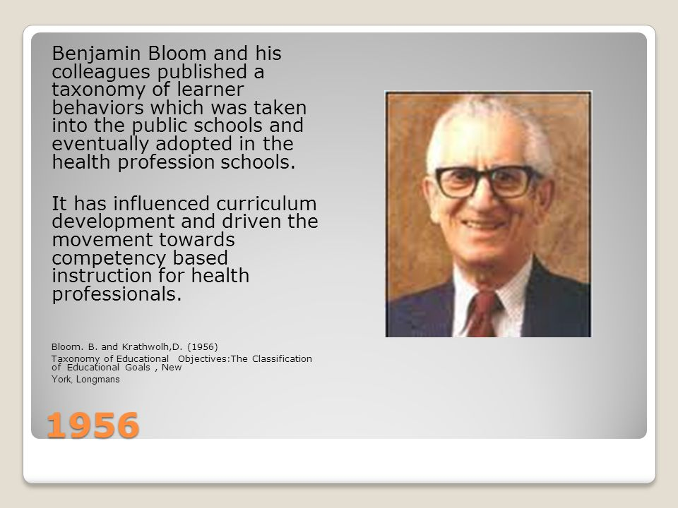 1956 Benjamin Bloom and his colleagues published a taxonomy of learner behaviors which was taken into the public schools and eventually adopted in the health profession schools.