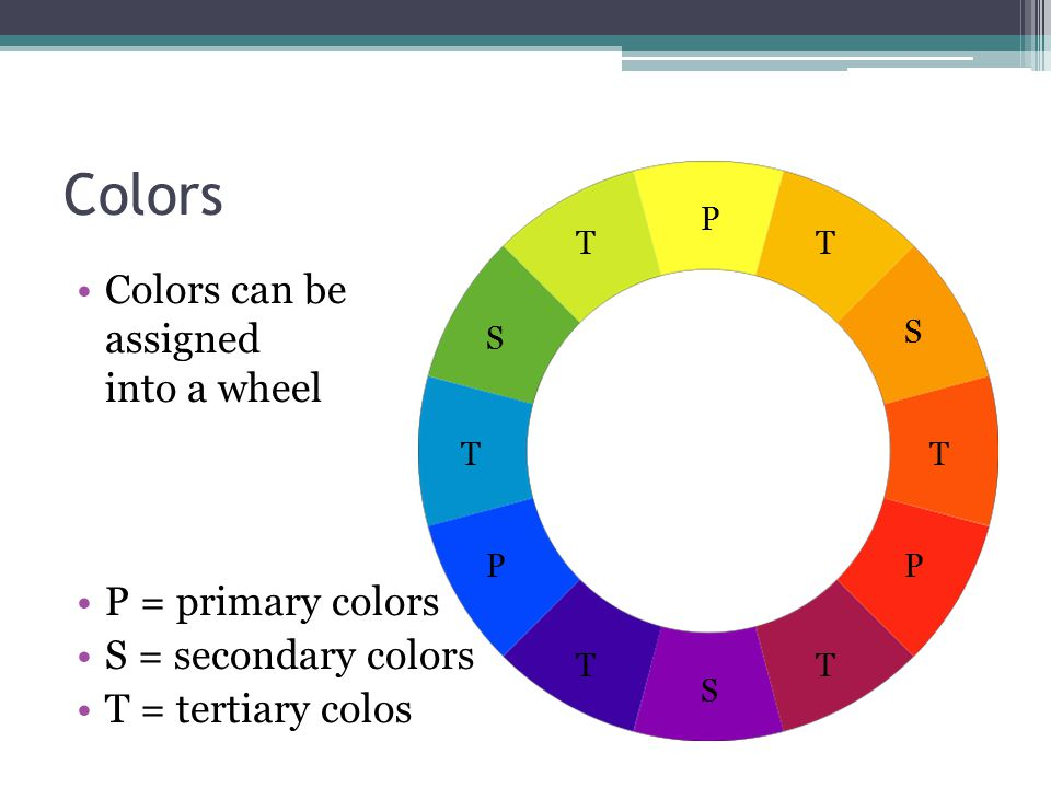 Colors Colors can be assigned into a wheel P = primary colors S = secondary colors T = tertiary colos P PP S S S T T T T T T