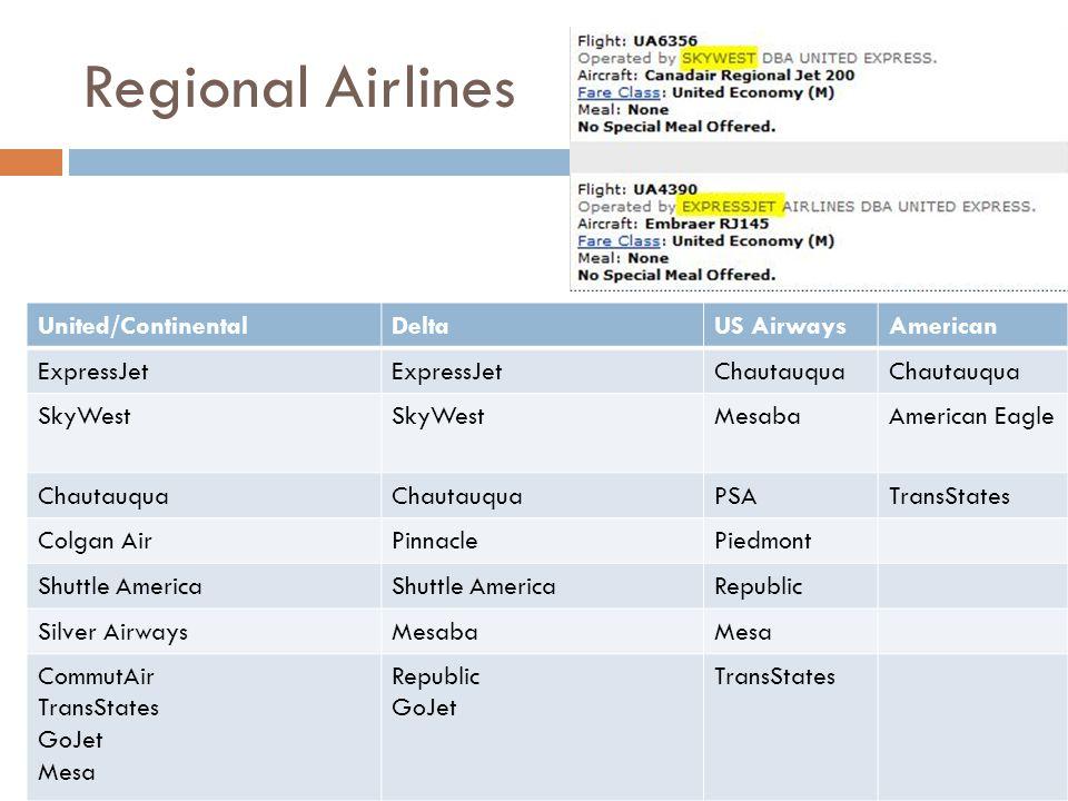 Regional Airlines United/ContinentalDeltaUS AirwaysAmerican ExpressJet Chautauqua SkyWest MesabaAmerican Eagle Chautauqua PSATransStates Colgan AirPin