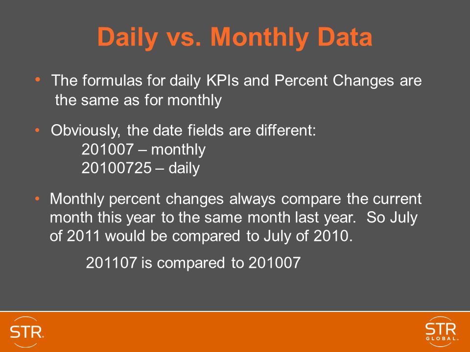 Daily vs. Monthly Data The formulas for daily KPIs and Percent Changes are the same as for monthly Obviously, the date fields are different: 201007 –