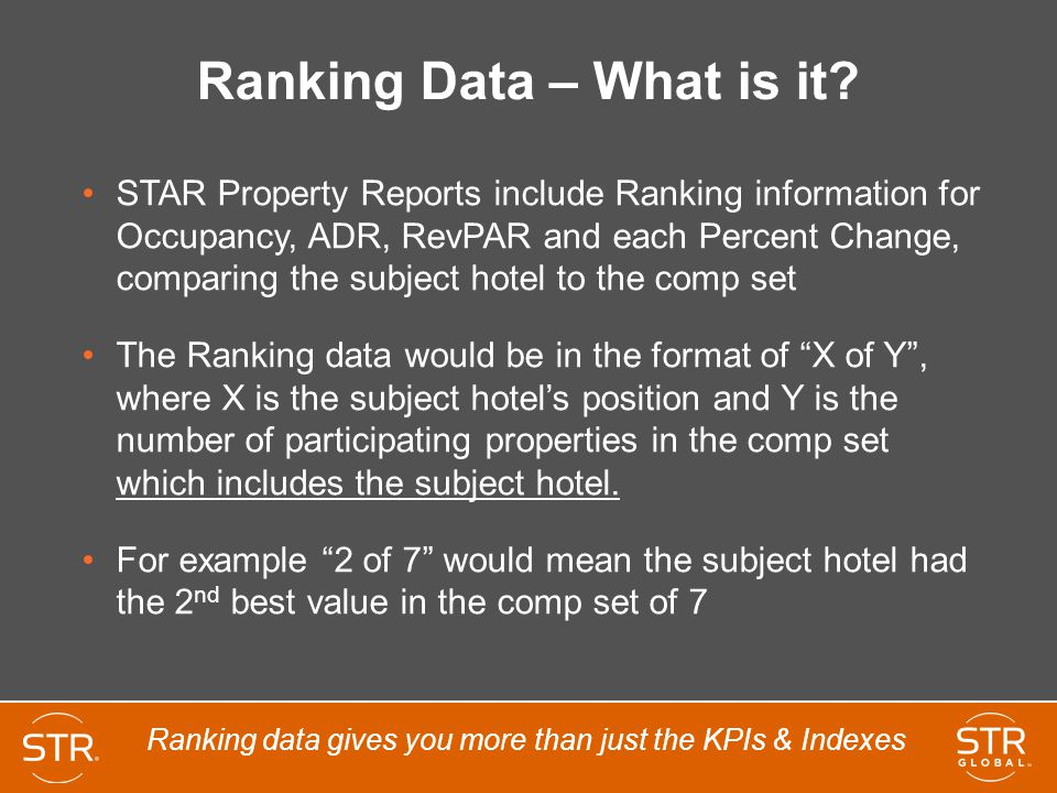 Ranking Data – What is it? STAR Property Reports include Ranking information for Occupancy, ADR, RevPAR and each Percent Change, comparing the subject