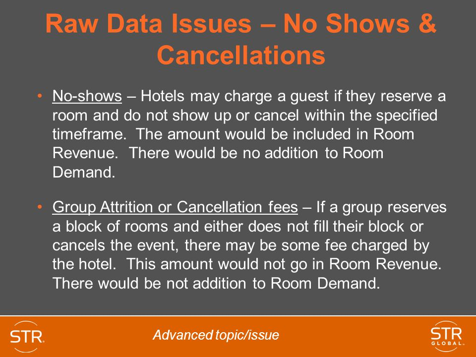 Full Availability Occasionally a hotel in the industry segment may report a Supply number that is different than the number of rooms in the property times the days in the period When calculating industry data, STR always uses the Supply number based upon full availability, not the number that the hotel reports Advanced concept