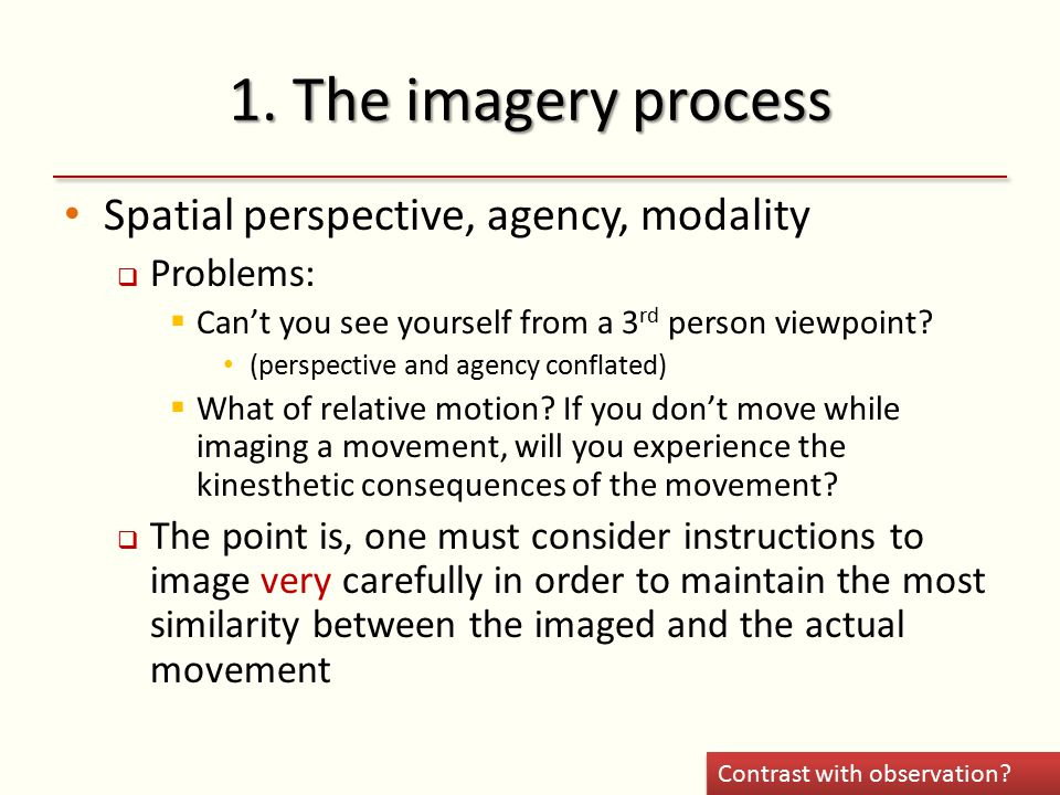 1. The imagery process Spatial perspective, agency, modality  Problems:  Can't you see yourself from a 3 rd person viewpoint? (perspective and agenc