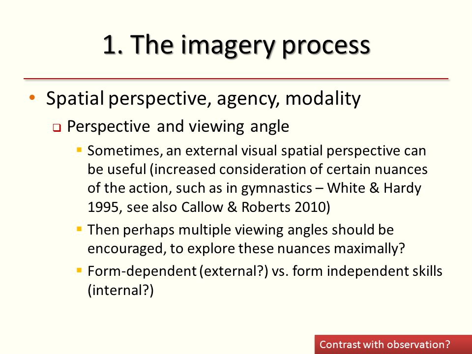 1. The imagery process Spatial perspective, agency, modality  Perspective and viewing angle  Sometimes, an external visual spatial perspective can b