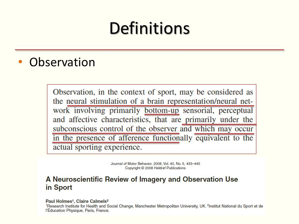 Definitions Observation
