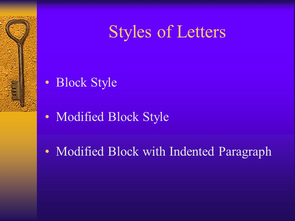 Styles of Letters Block Style Modified Block Style Modified Block with Indented Paragraph