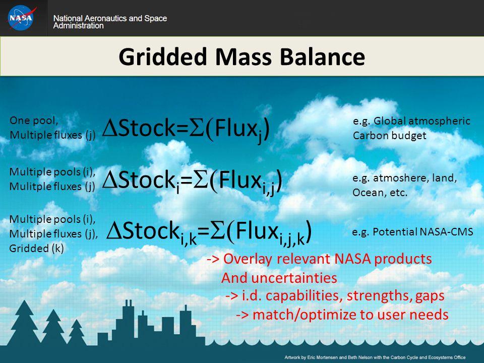  Stock=  Flux j ) One pool, Multiple fluxes (j)  Stock i =  Flux i,j ) Multiple pools (i), Mulitple fluxes (j) Multiple pools (i), Multiple fluxes (j), Gridded (k)  Stock i,k =  Flux i,j,k ) e.g.