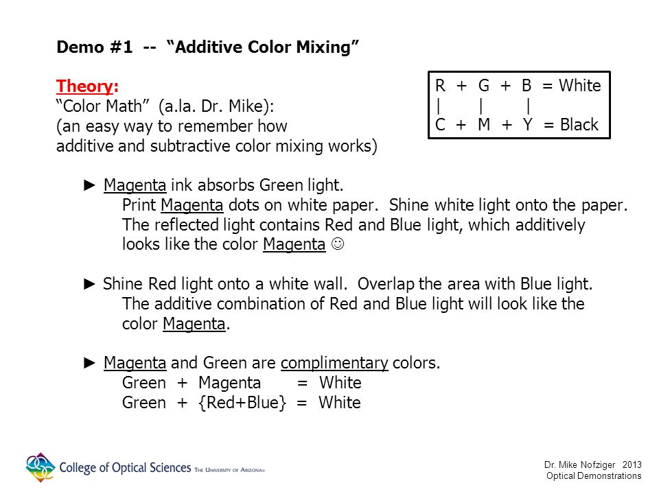 Demo #1 -- Additive Color Mixing Theory: Color Math (a.la.