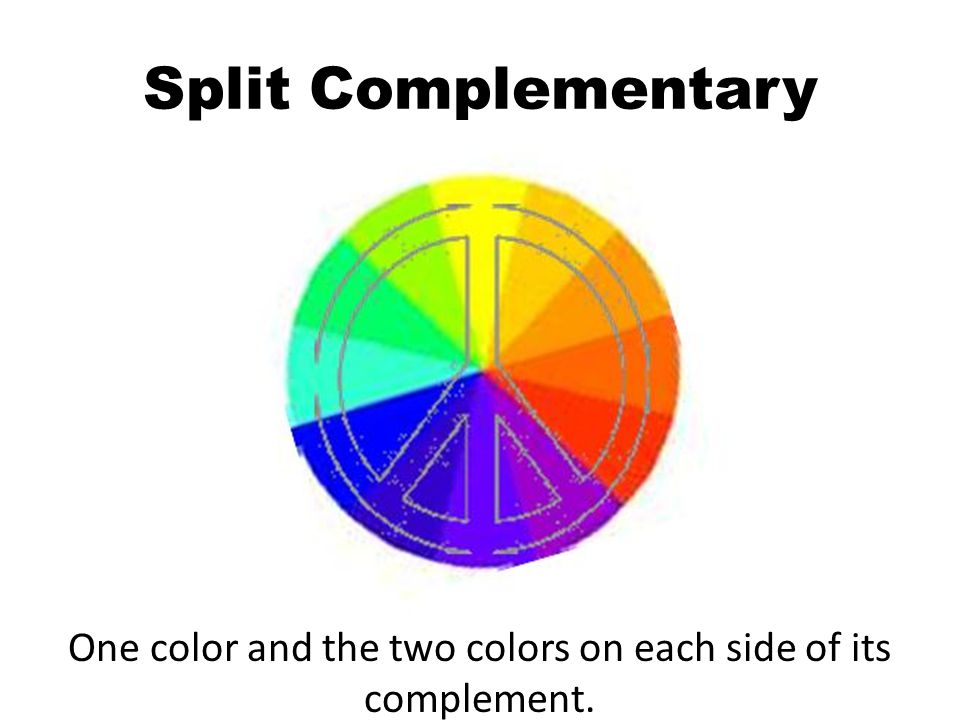 Split Complementary One color and the two colors on each side of its complement.