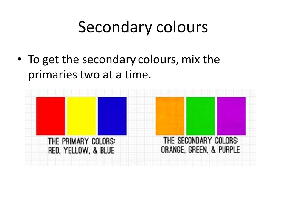 Secondary colours To get the secondary colours, mix the primaries two at a time.