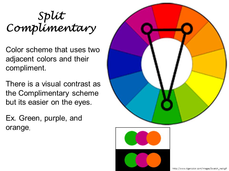 Split Complimentary Color scheme that uses two adjacent colors and their compliment. There is a visual contrast as the Complimentary scheme but its ea