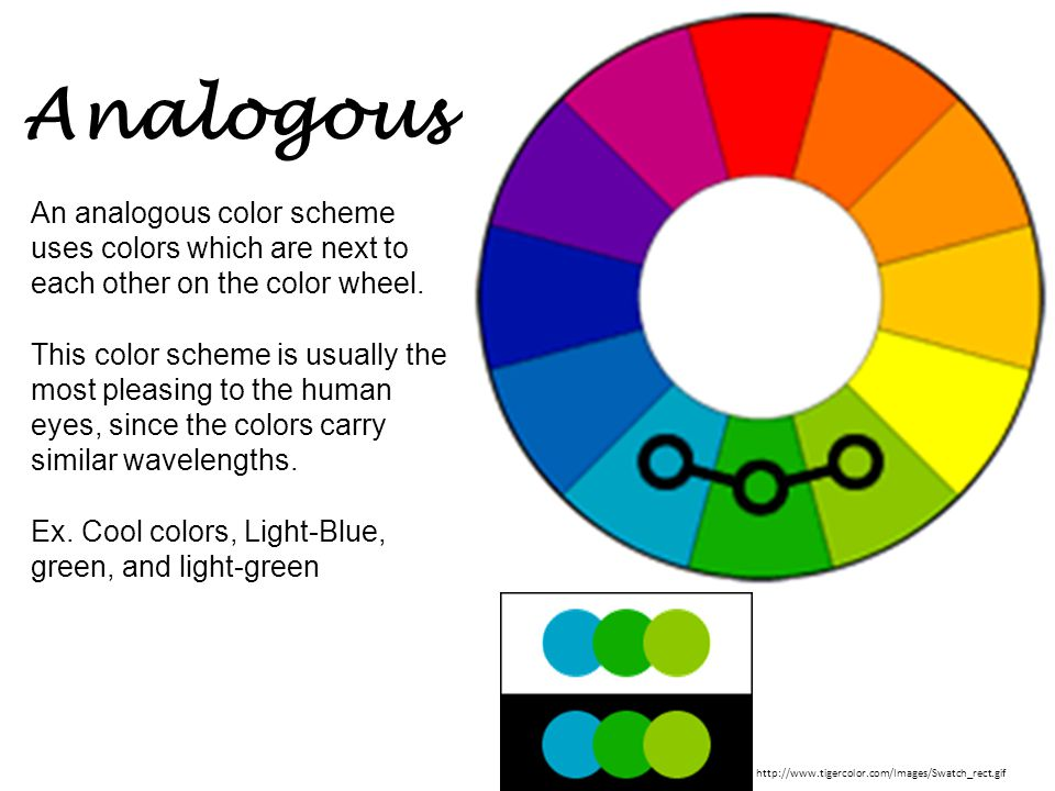 Analogous An analogous color scheme uses colors which are next to each other on the color wheel. This color scheme is usually the most pleasing to the